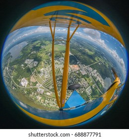 Fisheye Aerial View of Florida from an Airplane