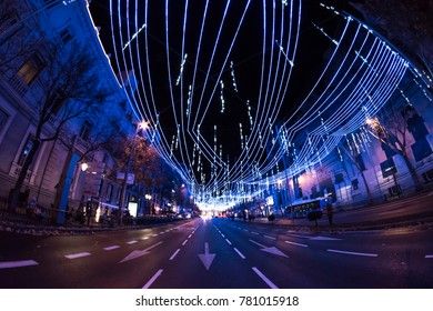 Fisheye. Christmas lights in the streets of the Madrid City. Alcala street