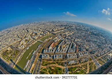 Fish-eye Panorama view from Eiffel Tower in Paris, France