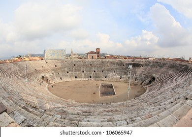 fisheye view of ancient arena of Verona, second largest Roman amphitheatre after Colosseum in Italy