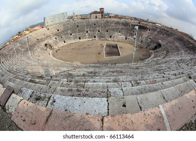 fisheye view of ancient arena of Verona, a Roman amphitheatre built in AD 30 and unesco world heritage landmark of the city in Italy