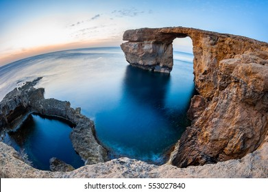 Fisheye View of the Azure Window, a natural arched rock in Dwejra, Gozo, Malta.