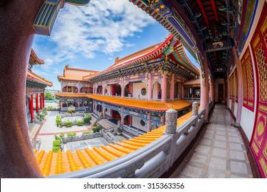 Fisheye view of Beautiful Chinese Church in Thailand. (Wat Leng Noei Yi 2) a giant Chinese Buddhist temple