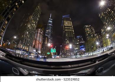 Fisheye view from car at World Trade Center, New York City at night