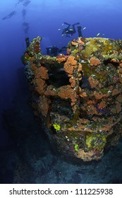fisheye view of the crows nest of USCG Cutter Duane in Key Largo, Florida
