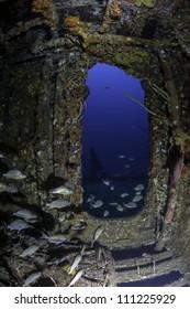 fisheye view of a doorway on the inside of USCG Cutter Duane in Key Largo, Florida
