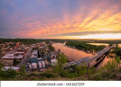 A Fisheye View of a Dramatic Spring Sunset over the Mississippi River and Rural Red Wing, Minnesota