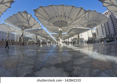 Fisheye view of giant canopies at Masjid Nabawi (Mosque) compound in Medina, Kingdom of Saudi Arabia. Nabawi mosque is the second holiest mosque in Islam.