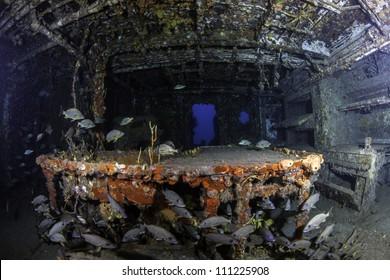 fisheye view of the inside of USCG Cutter Duane in Key Largo, Florida