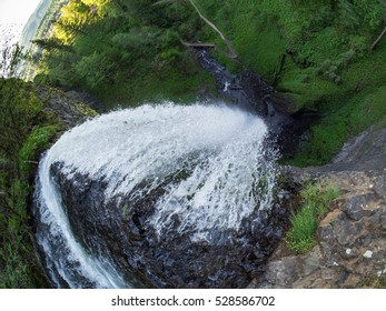 A fisheye view looking down from the edge of Latourell Falls