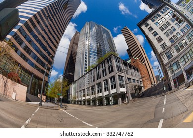 Fisheye view of Seattle central district at summer