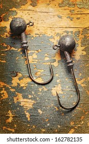 fishhooks close up vertical picture