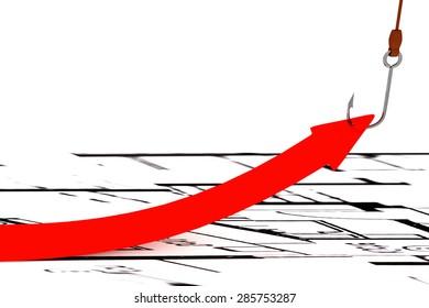 Fishhooks draws up arrow