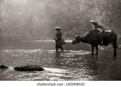 Fishing at beautiful river in Bogor West Java Indonesia. 04 08 2019