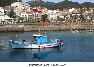 fishing blue boat in Cangas , Galicia