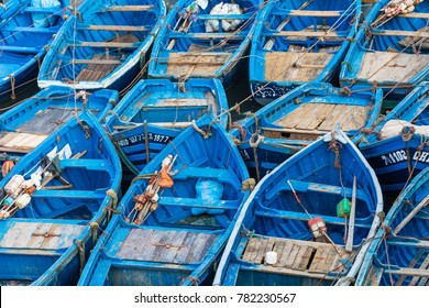 Fishing blue boats in Marocco. Lots of blue fishing boats in the port of Essaouira, Morocco