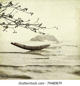 Fishing Boat and Almond Tree Textured Art Background Chinese Style