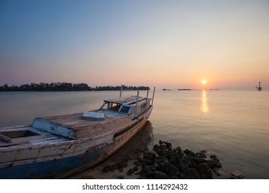 Fishing boat anchored at twilight, Karimunjawa, Indonesia