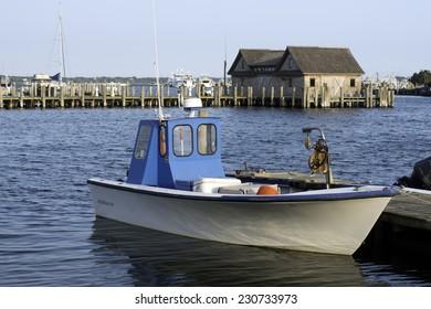 fishing boat in bay harbor marina Montauk New York USA Atlantic Ocean in the Hamptons