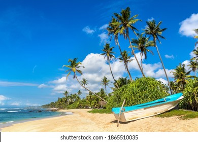 Fishing boat at the beach in Sri Lanka