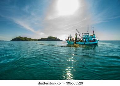 Fishing boat   , Beautiful landscape