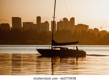 Fishing boat and the Bellevue skyline