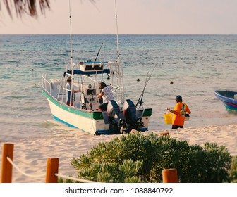 Fishing boat at Caribbean sea.