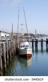 Fishing boat at dock in Bodega Bay, California