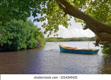 Fishing boat in Ferre culdesac - Le Marin - Martinique - FWI