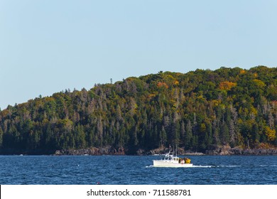 A fishing boat floating by the Southwest Harbor in Maine.