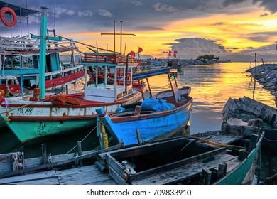 Fishing boat in the golden morning light.