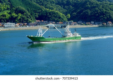 fishing boat green returns to port after fishing