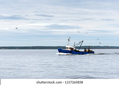 Fishing boat in gulf of Riga, Baltic sea.