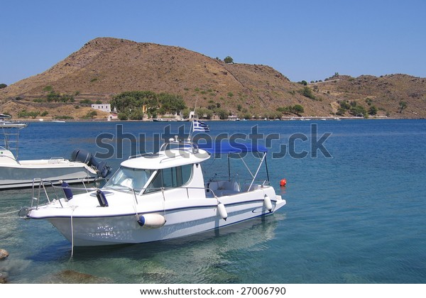 Fishing boat in the harbor of the Greek Islands