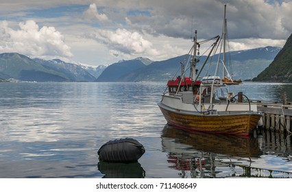 fishing boat in the harbor of Vik at the sognefjord in Norway