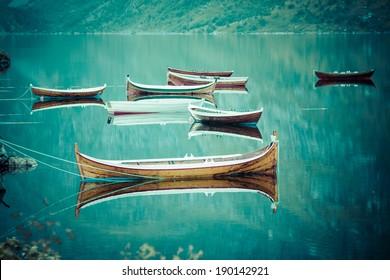 Fishing boat in harbour Reine, Lofoten Islands, Norway