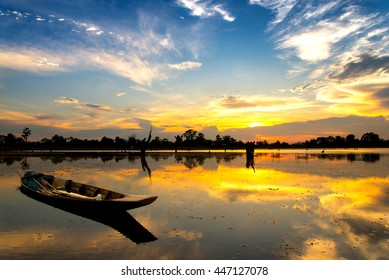 Fishing boat and houseboat evening clouds on sunset,Si sa ket,Thailand - Shutterstock ID 447127078