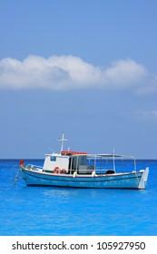 Fishing boat in the Ionian sea in Lefkada Greece