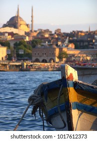 Fishing Boat in Istanbul with a Mosque in Background