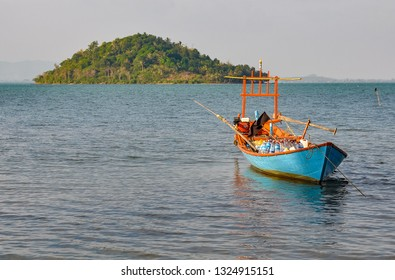 Fishing boat in Koh Tonsay, the so-called Rabbit Island in Cambodia