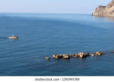 Fishing boat in the Ligurian Sea, Italy