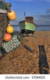 Fishing boat, Lydd, Kent South coast England