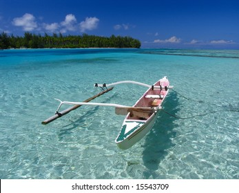 Fishing boat in Moorea beach. Polynesia.