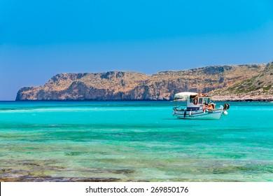 Fishing boat near Balos beach. Crete, Greece.