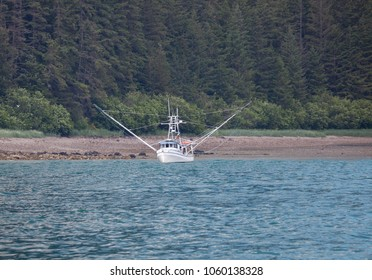 Fishing boat near the shore in Southeast Alaska with forest in the background.