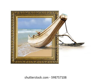 Fishing boat in old wooden frame with 3d effect