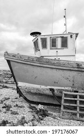 Fishing boat on the beach (black and white)