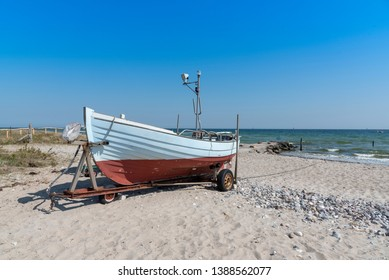 Fishing boat on the beach of Damp in Schleswig-Holstein, Germany