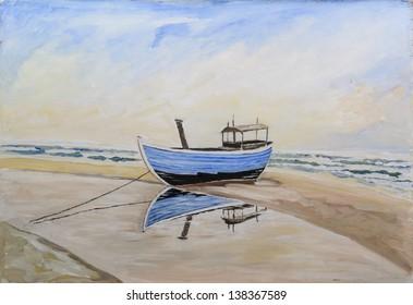fishing boat on beach - original painting oil on wood