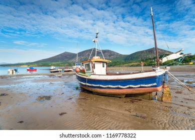 A fishing boat on the beach at Trefor on the Llyn Peninsula in North Wales